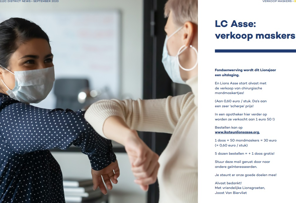 Persbericht in 112C District News - September 2020 - pagina 8 - LC Asse - Verkoop maskers